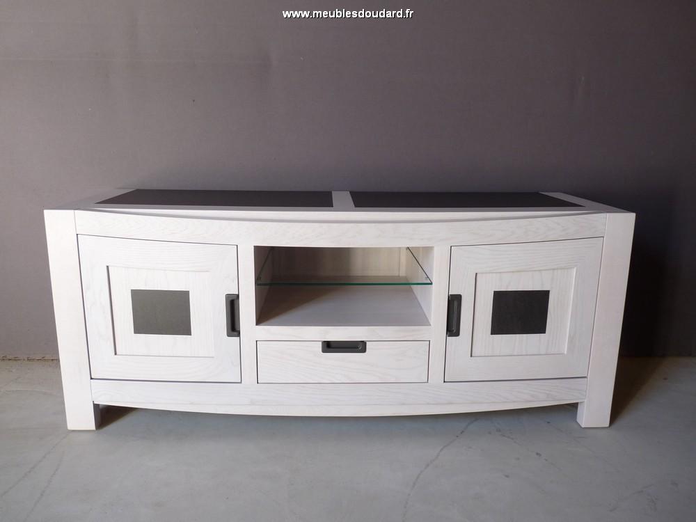 meuble television contemporain chene et ceramique ref 4148c
