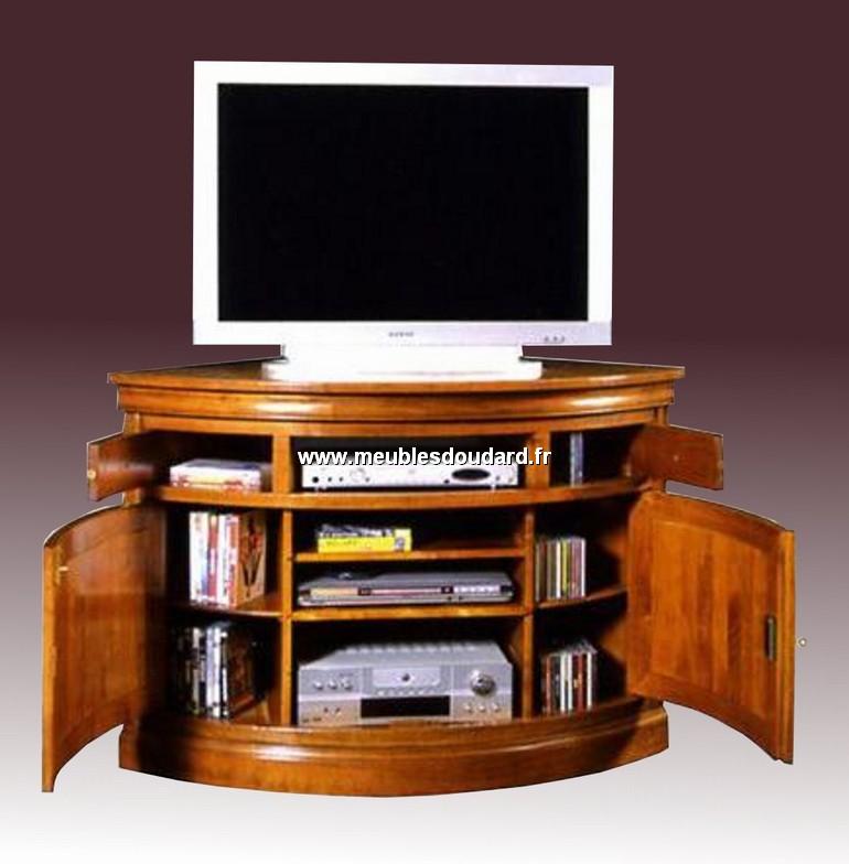meuble d angle tv merisier louis philippe 2 portes 1 niche