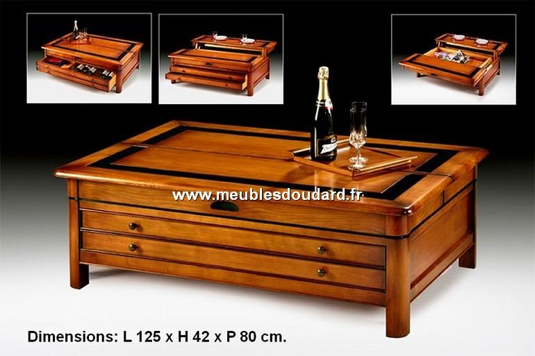 table basse de salon merisier relevable ref t800
