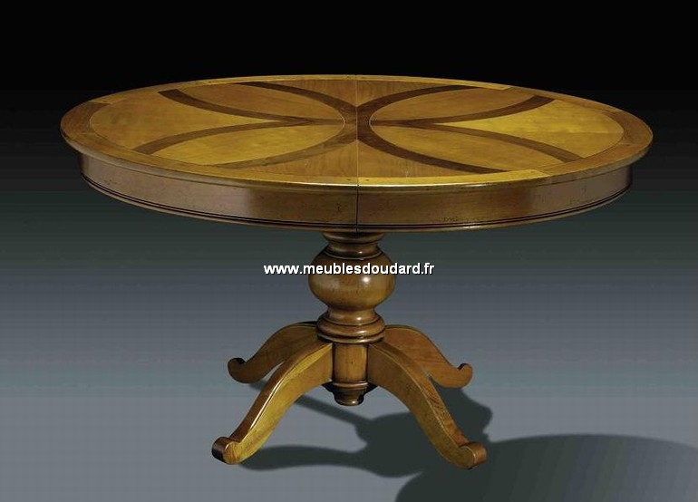 table ovale pied central ref dh25 merisier