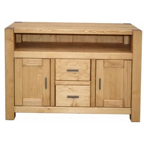 meuble tv haut 2 portes 2 tiroirs 1 niche pin massif scandinavia