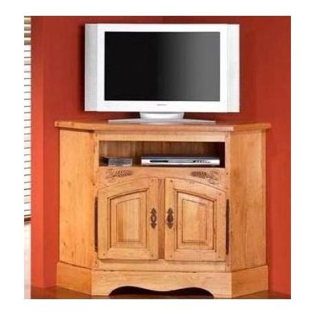 meuble tv d angle sculpte en chene massif ardeche zagas