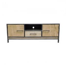 meuble tv rondin 2 portes bois et metal