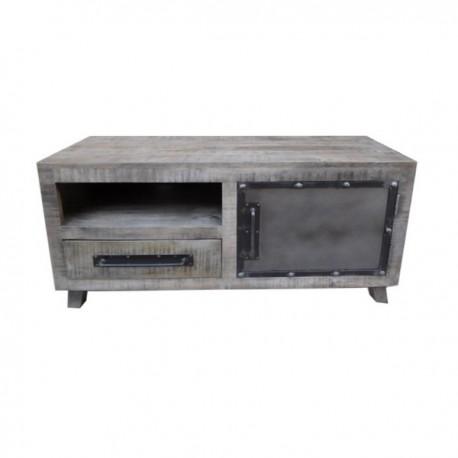 meuble tv phoenix 1 porte finition manguier grise et metal