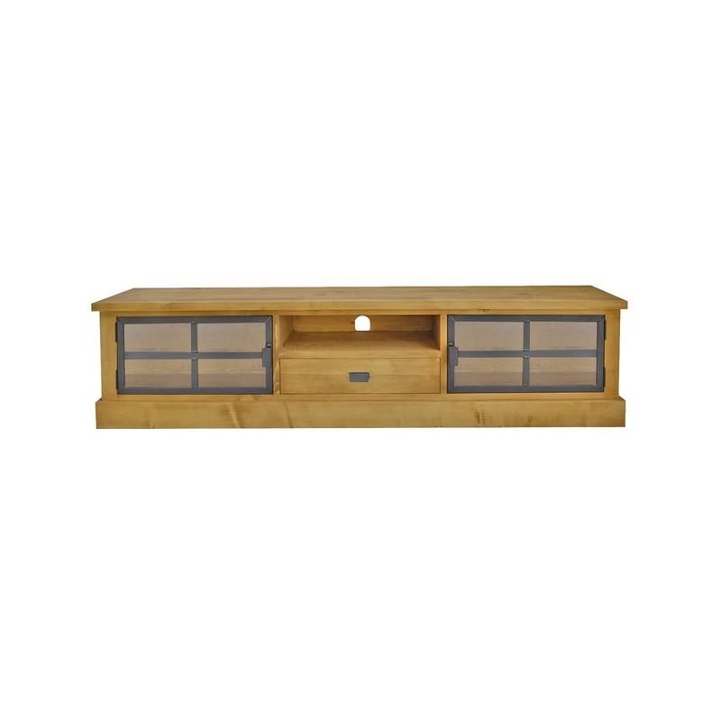 meuble tv 1 60m 2 portes metal vitrees bois et fer