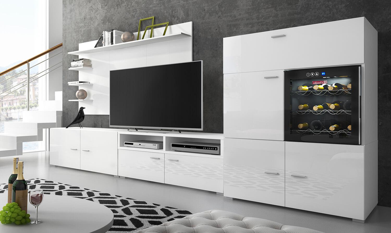 ensemble meubles tv refrigerateur la sommeliere blanc laque mat 295x175x57 40 cm