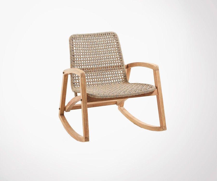 fauteuil a bascule exterieur bois massif acacia style nature et design