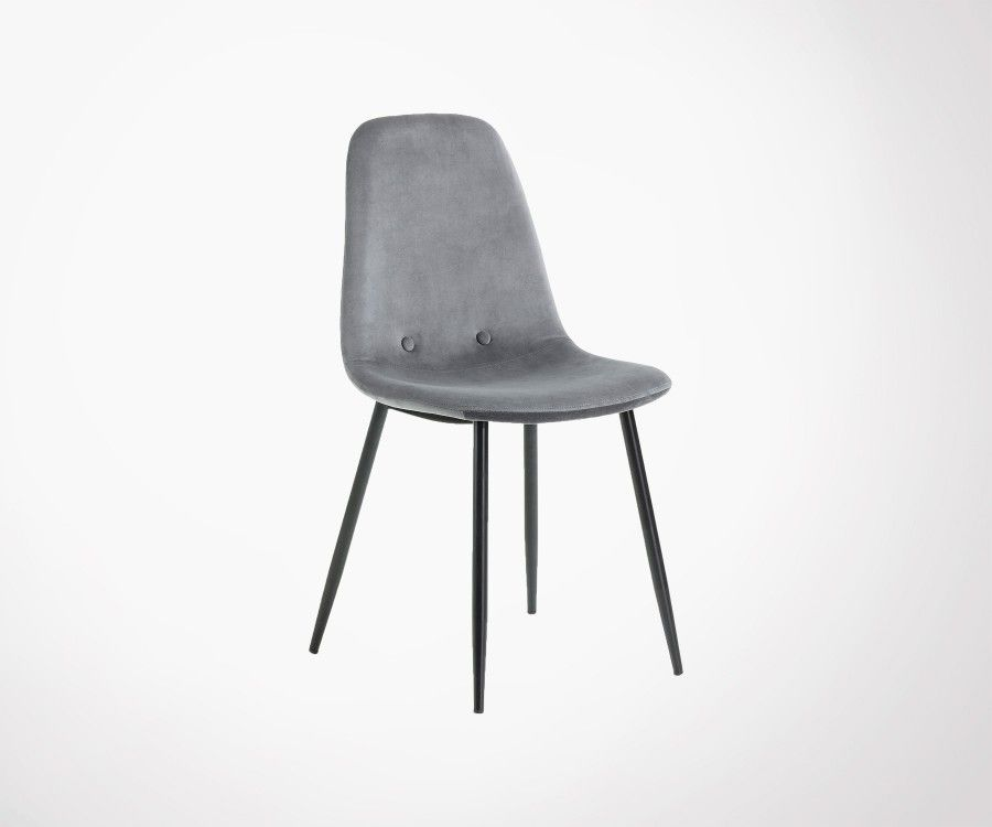 chaise de salle a manger tissu velours pieds metal noir style moderne