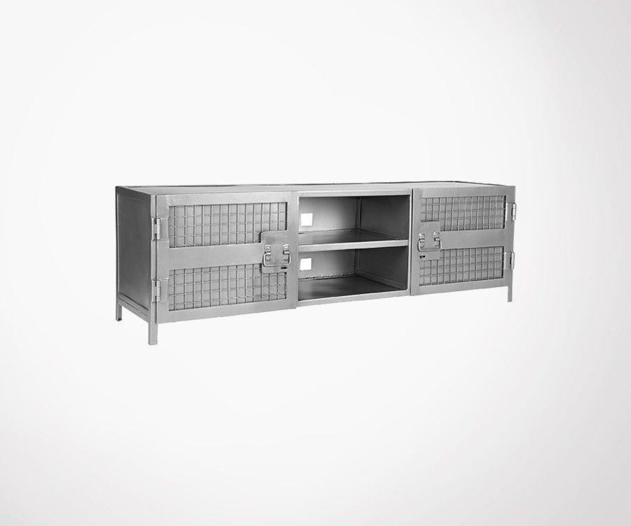 meuble tv metal gris ou noir style industriel 160cm label 51