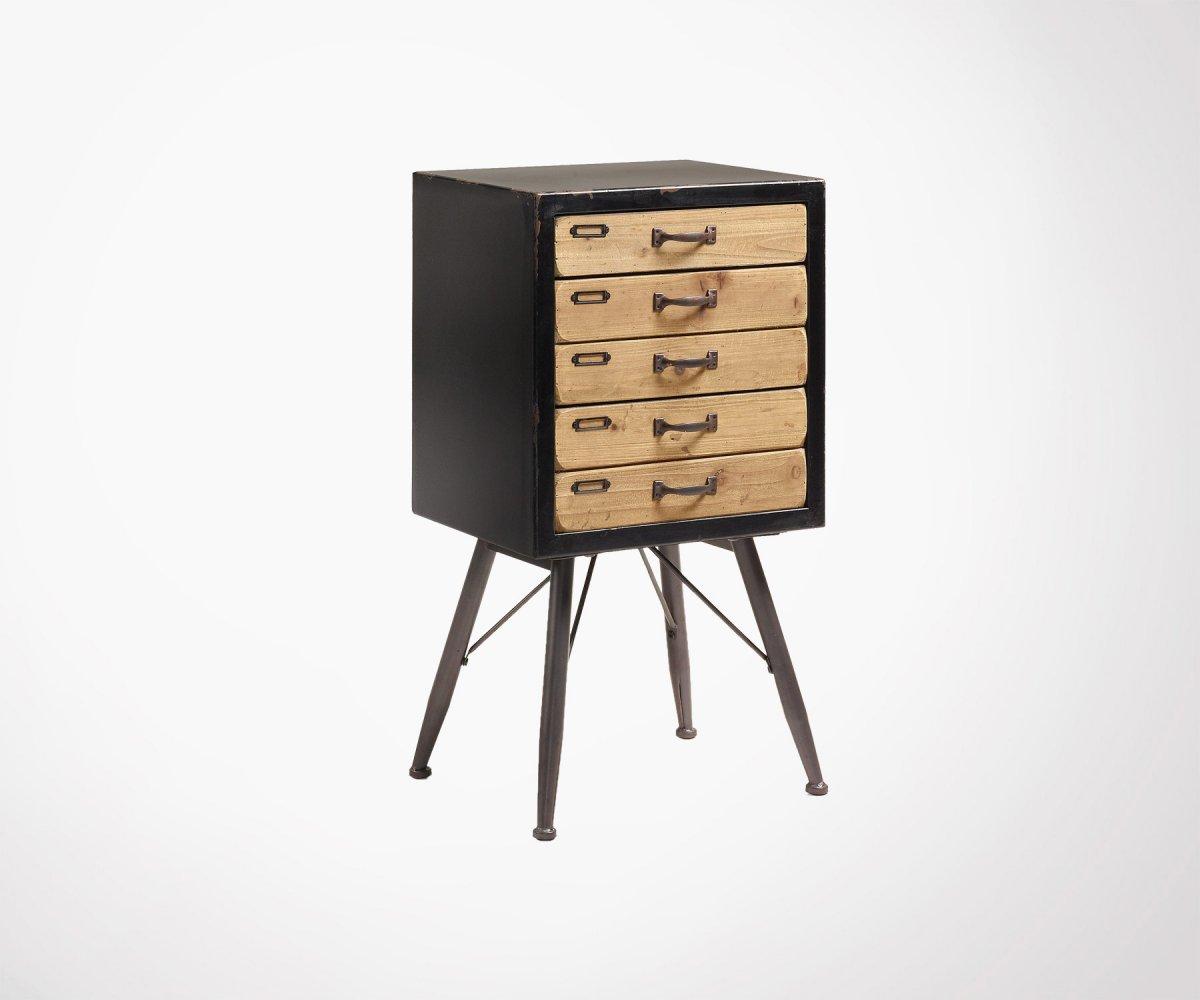 Commode Design Style Industriel 5 Tiroirs En Bois Et Metal