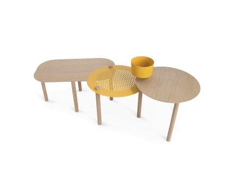 table basse design avec bol bois et metal greg dizy