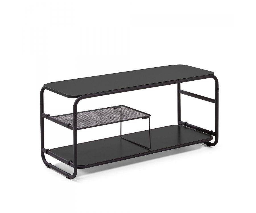 petit meuble tv 100cm tout en metal noir style industriel