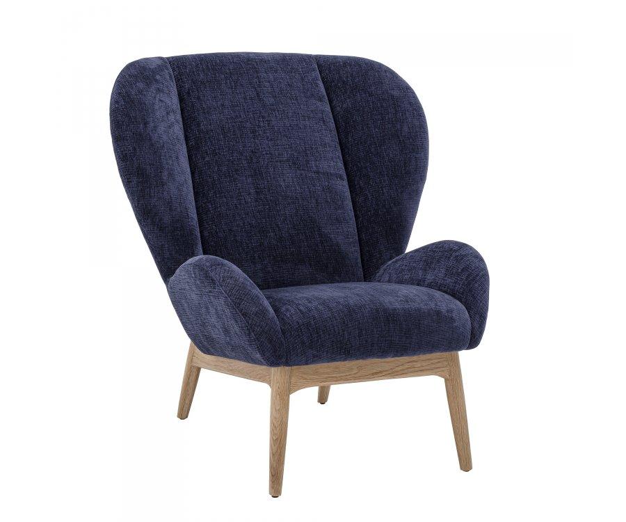 fauteuil scandinave en tissu bleu et pieds bois albert top tendance