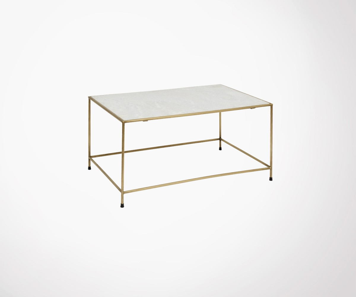 table basse metal dore marbre timeless nordal
