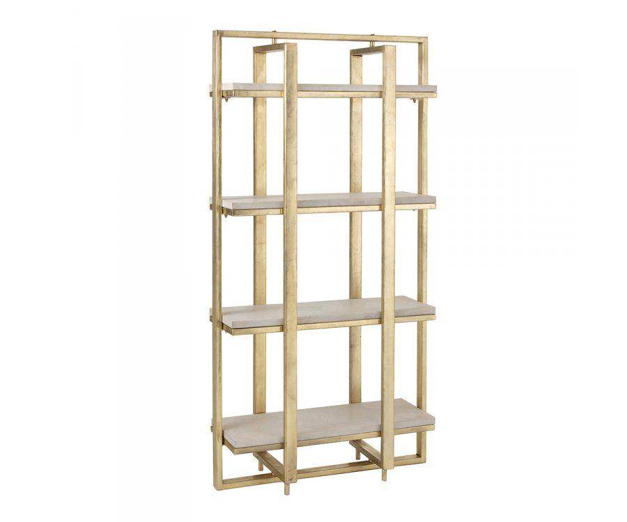 etagere sur pieds en metal laiton et planche de bois blanc j line