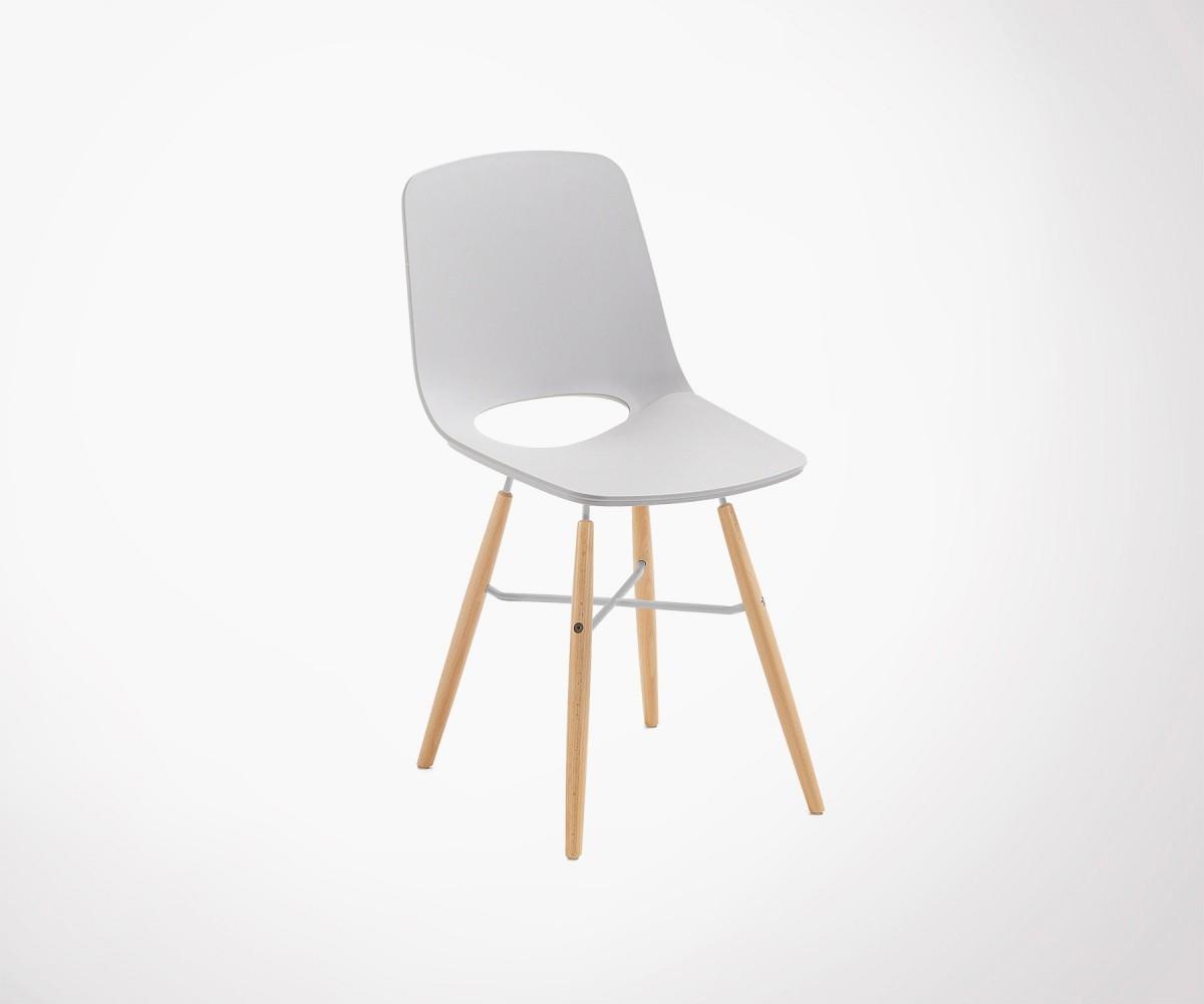 Chaise Design Grise Style Scandinave Coque Plastique Pieds