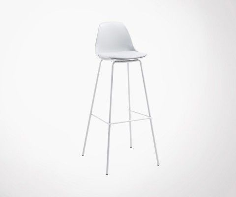 tabouret bar pieds metal assise rembourree gris nasaly