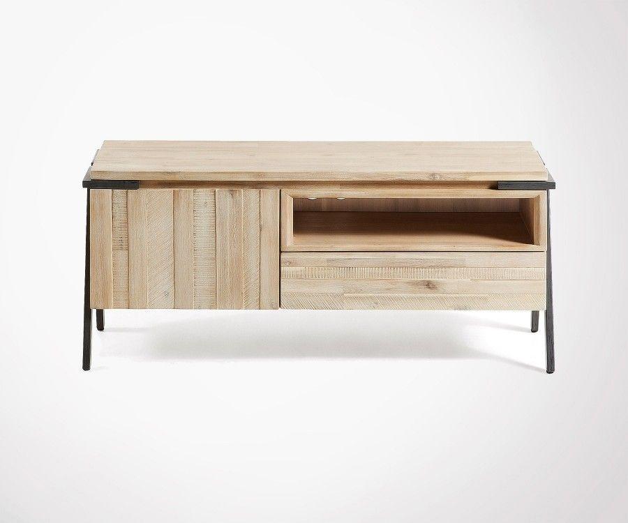 console meuble tv 125cm bois acacia et metal top ventes
