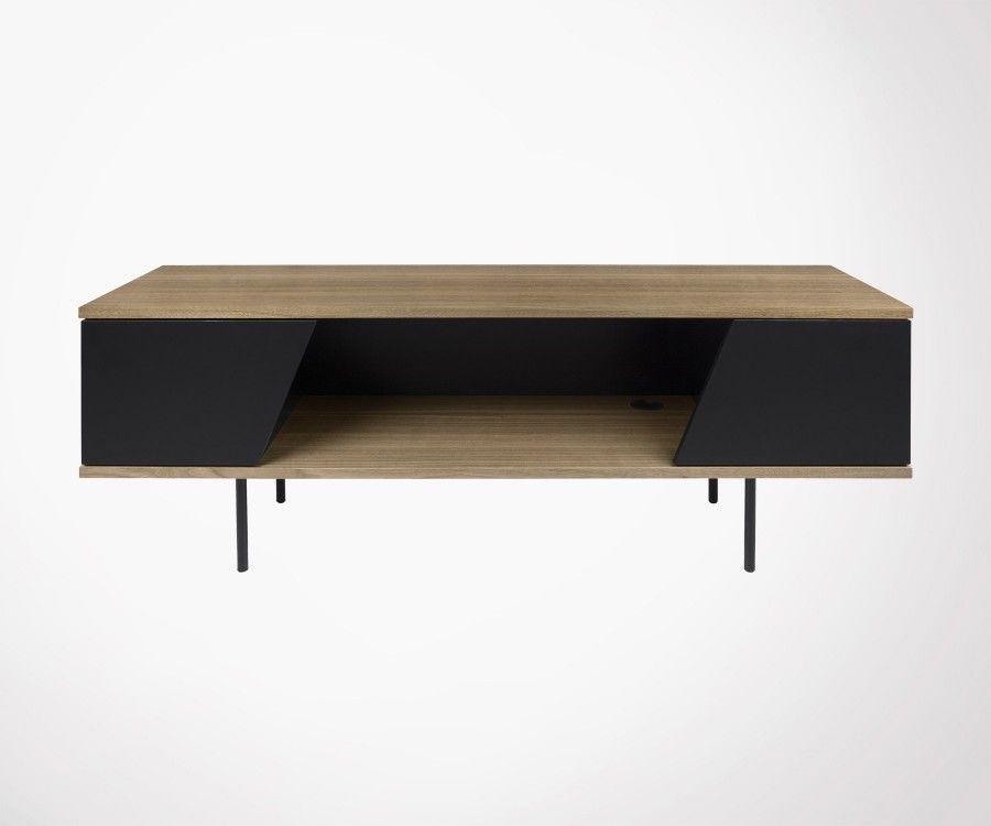 meuble tv moderne bois de noyer pieds metal noir marque temahome