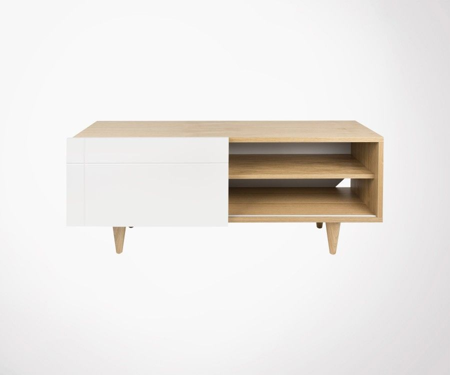 meuble tv scandinave bois de chene naturel et blanc laque temahome