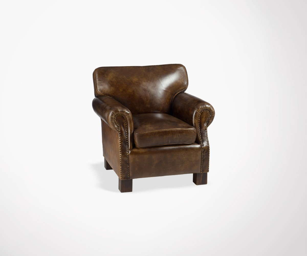 fauteuil lounge cuir marron caprio loading zoom