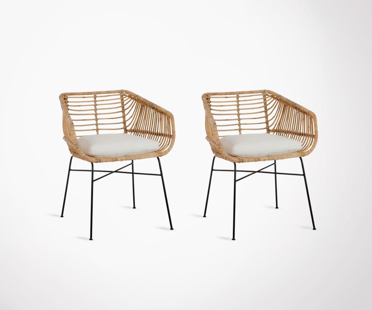 lot 2 chaises exterieures rotin naturel avec coussin veranda loading zoom