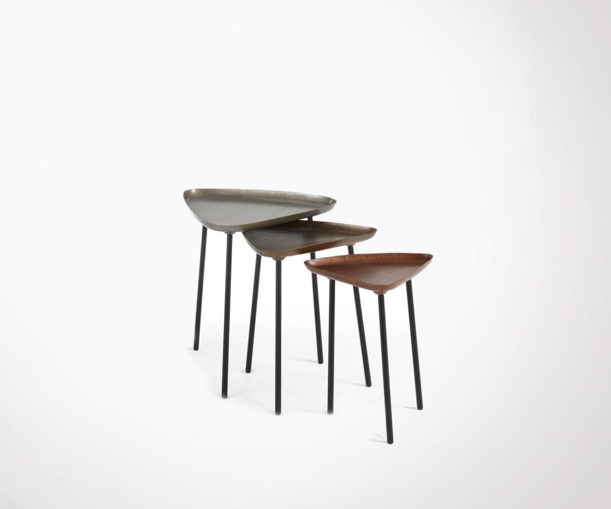 trio tables basses design zinc laiton cuivre zlc loading zoom