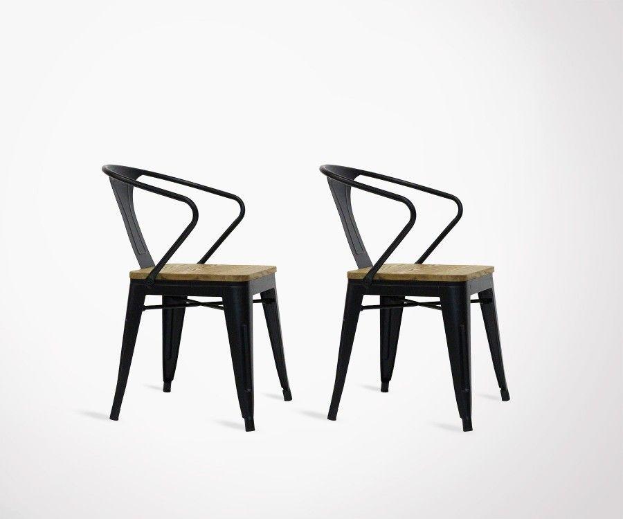 lot de 2 chaises industrielles bois metal avec accoudoirs redcartel
