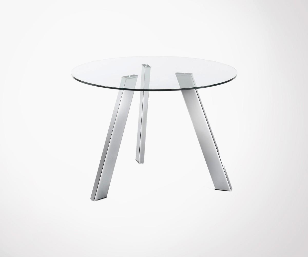 table a manger ronde 110cm plateau verre pieds chrome carib