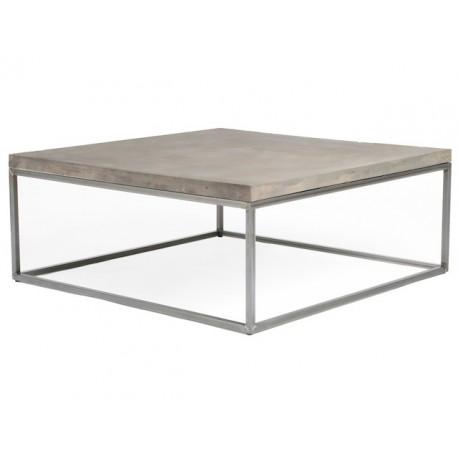 tables basses carrees perspective en metal et plateau beton
