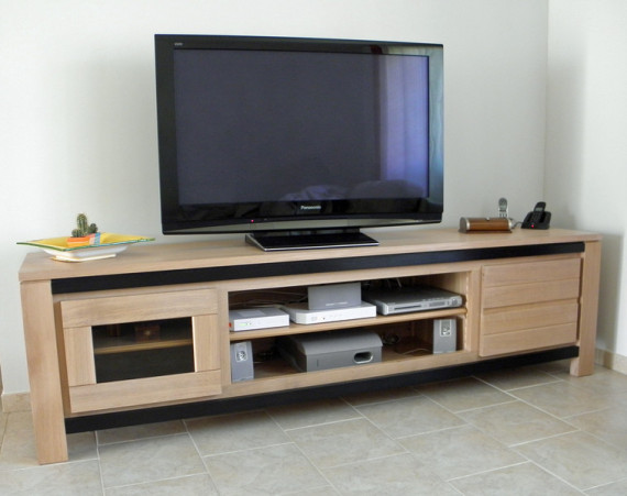 gamme elegance meuble tv contemporain 100 chene massif
