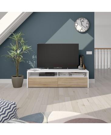 kioto meuble tv bois et blanc