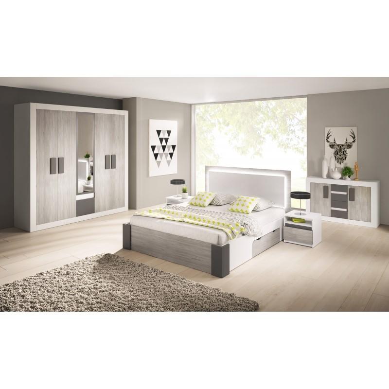 helios chambre complete 2 personnes gris et blanc