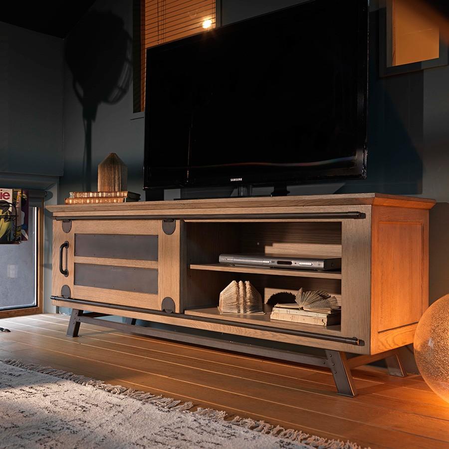 petit meuble tv avec porte coulissante style atelier de chez artcopi