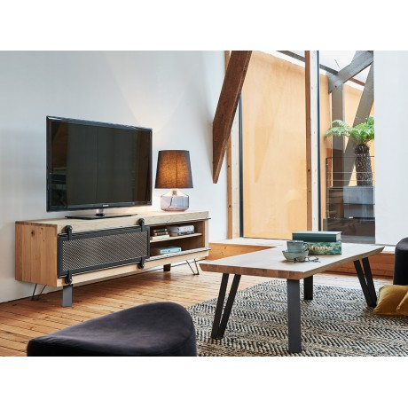 grand meuble tv style atelier fusion 1 porte coulissante metal
