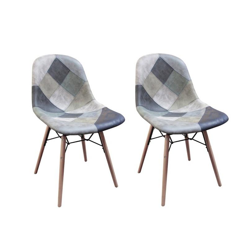 lot 2 chaises patchwork bleu scandinave vintage summer