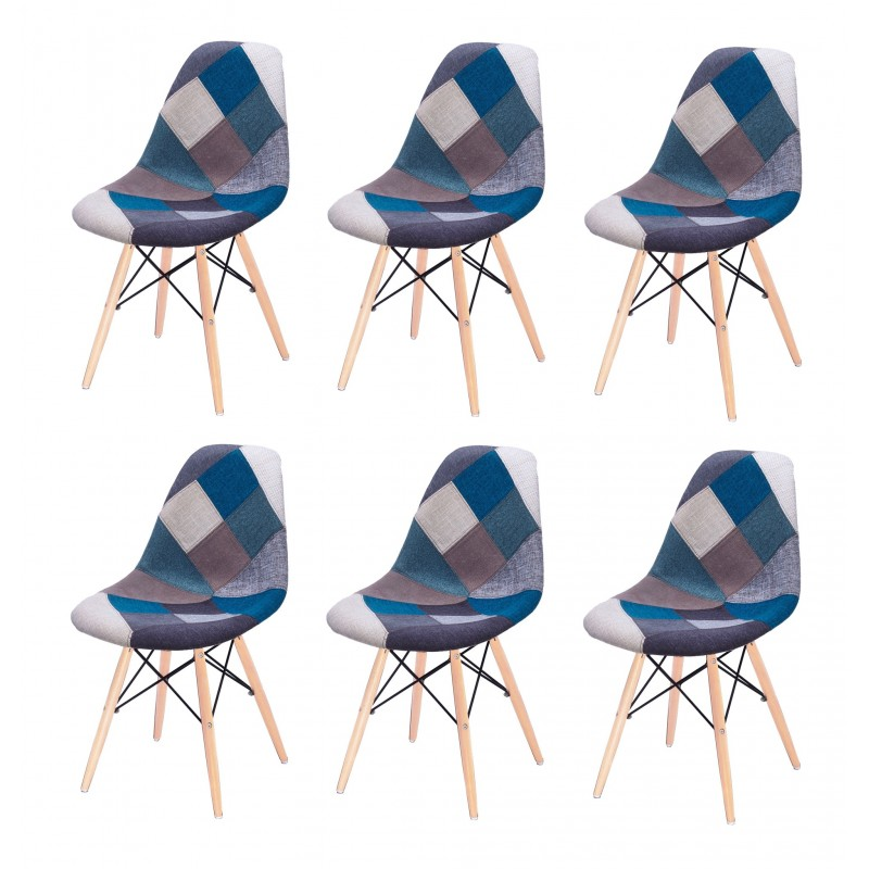 lot 6 chaises patchwork bleu tissu bois de hetre retro