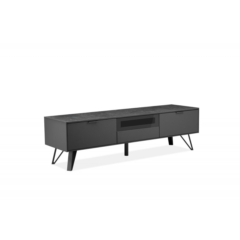 meuble tv gris anthracite bois ceramique et pied metal onyx