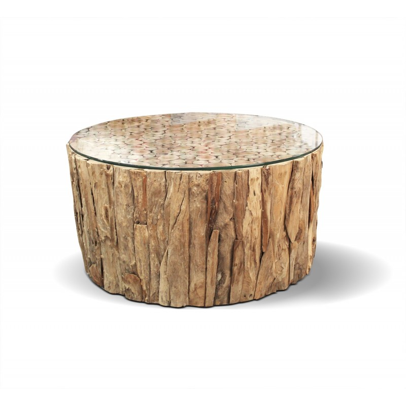 table basse ronde en teck plateau en verre diametre 90 cm comporta