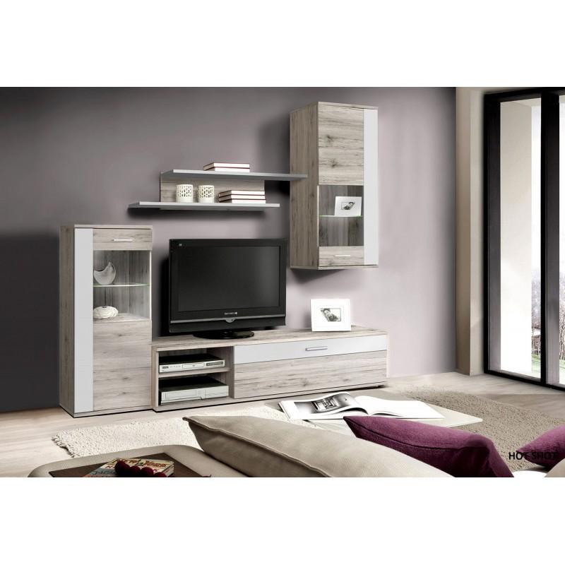ensemble meuble tv paroie murale aspect chene sable et blanc 4 el