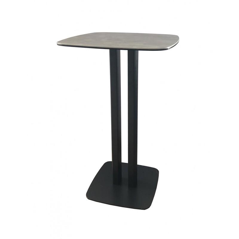 table haute carre plateau ceramique gris sigma