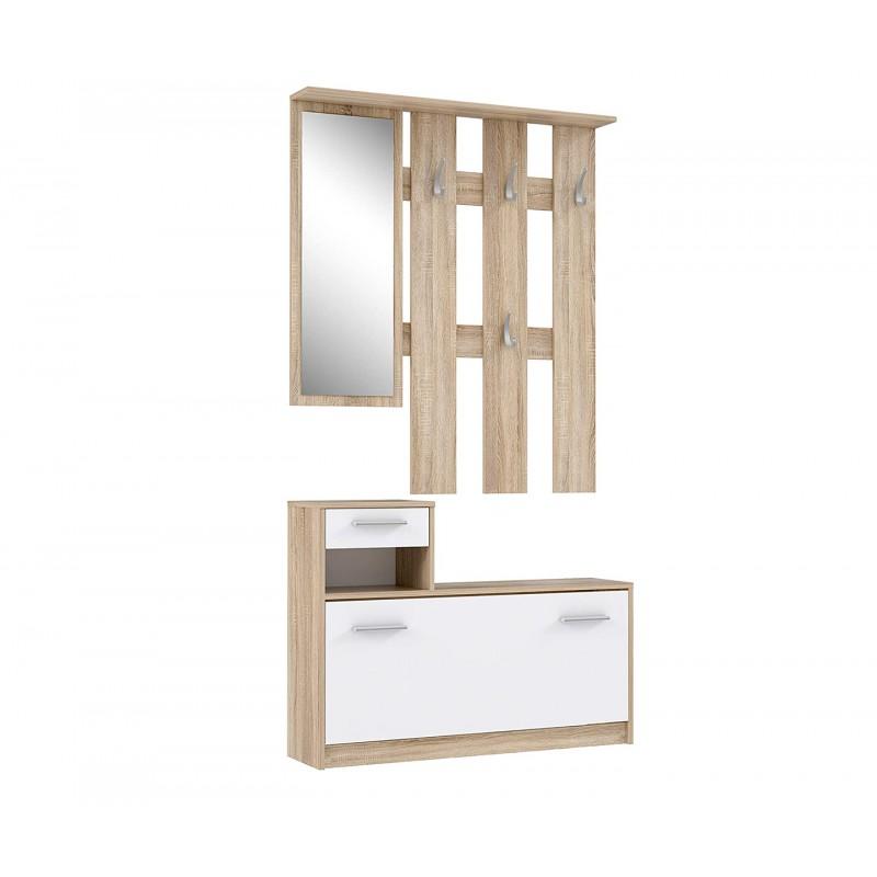 penderie meuble a chaussures blanc et beige avec miroir marcel