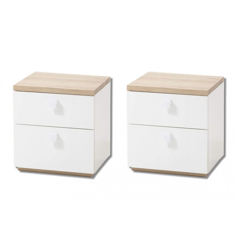 2 tables de chevet decor chene clair et blanc gabriel