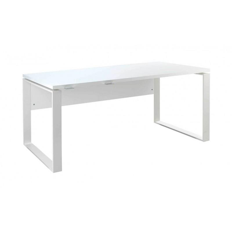bureau blanc laque et pieds en metal longueur 170 cm collection