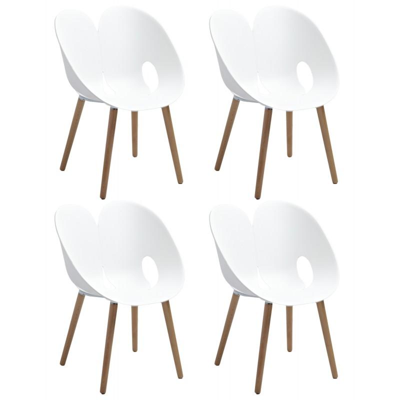 lot 4 chaises de designers blanc love