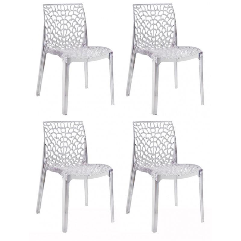 lot 4 chaises ajourees empilables transparentes gruyer