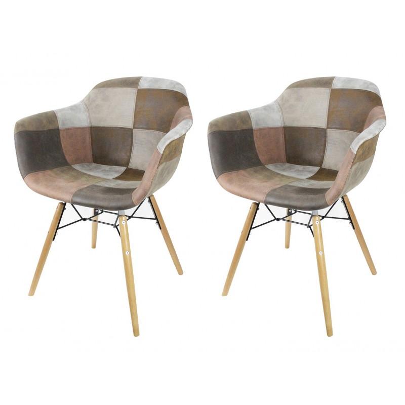 lot 2 fauteuils patchwork taupe tendance industriel simon