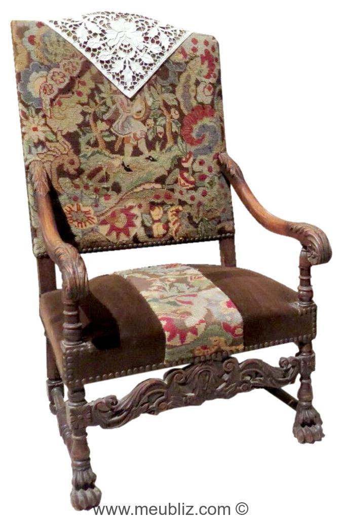 fauteuil a bras espagnol baroque de la