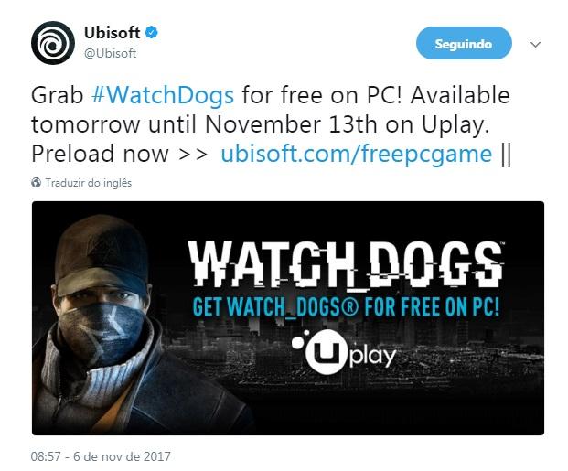 Ubisoft está a oferecer Watch Dogs
