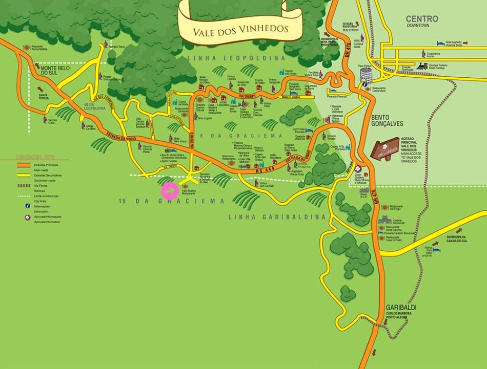 Mapa Vale dos Vinhedos - Restaurante Valle Rústico